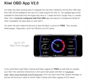 image of kiwi obd app free basic license and other features