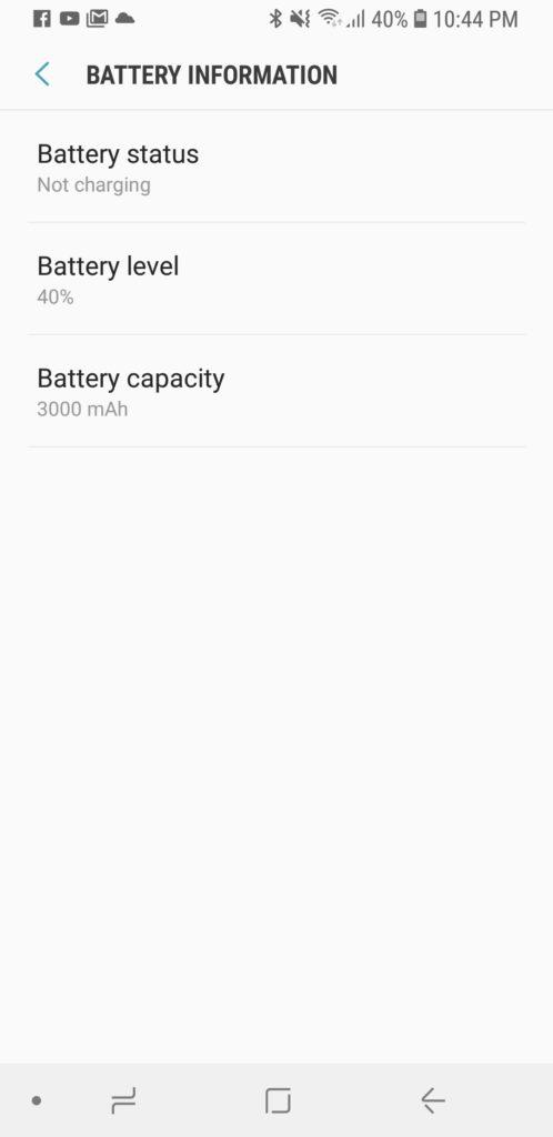 image of battery capacity of samsung galaxy s9