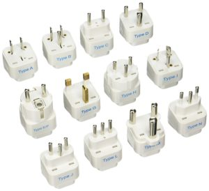 image of Ceptics GP-12PK International Travel Worldwide Grounded Universal Plug Adapter Set
