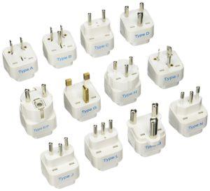 image of Ceptics GP-12PK International Travel Worldwide Grounded Universal Plug Adapter Set