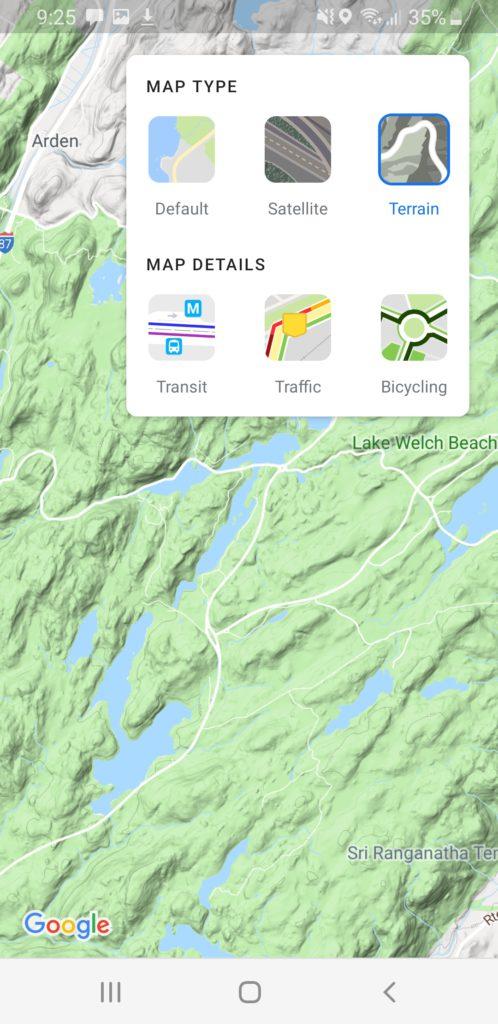 image of google map terrain
