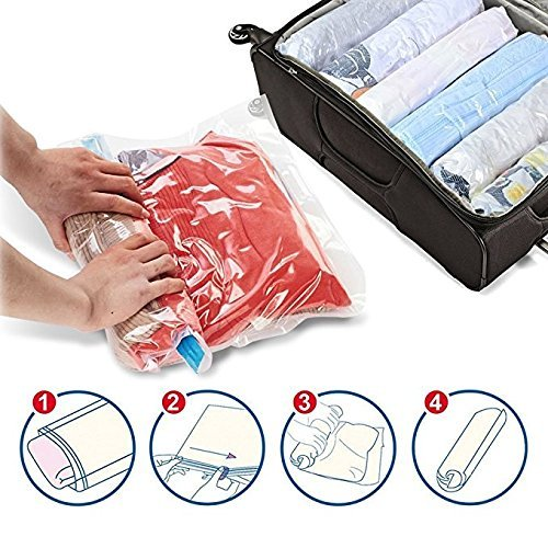 image of spacesaver 8x travel roll up storage bags for suitcases