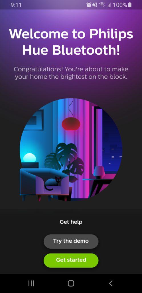 image of philips hue bluetooth app