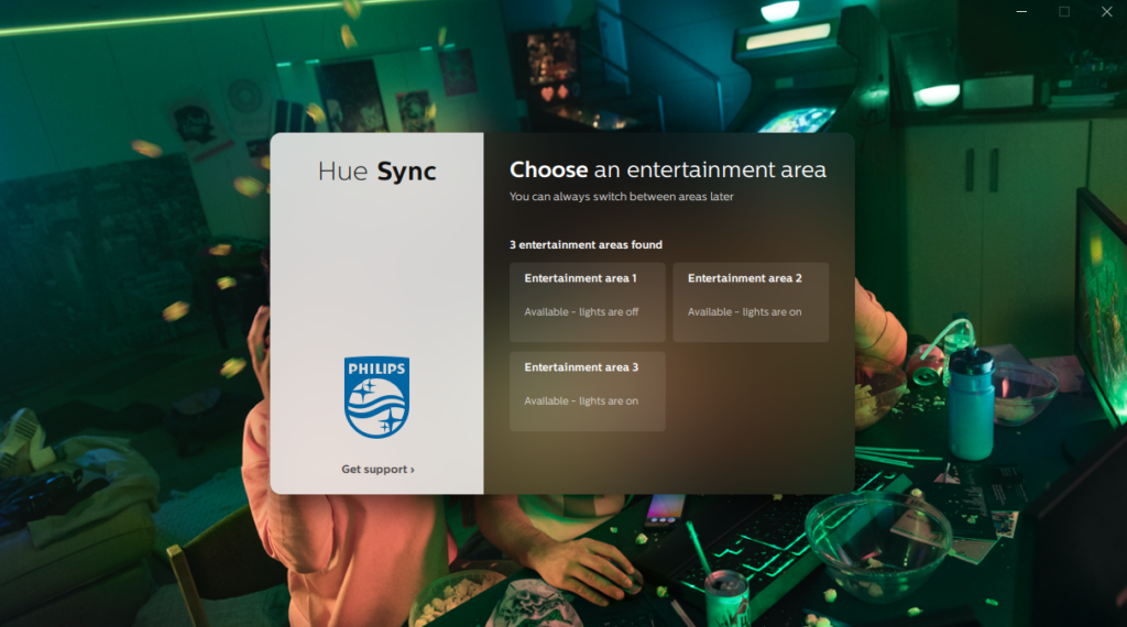 image of hue sync choose entertainment area