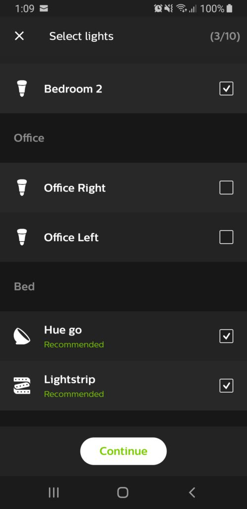 image of select lights for hue entertainment area