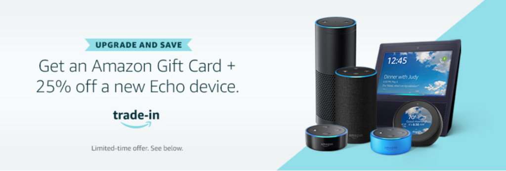 image of amazon echo device upgrade and save with trade in