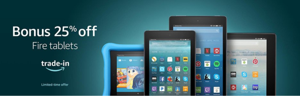 image of amazon fire tablet upgrade and save with trade in