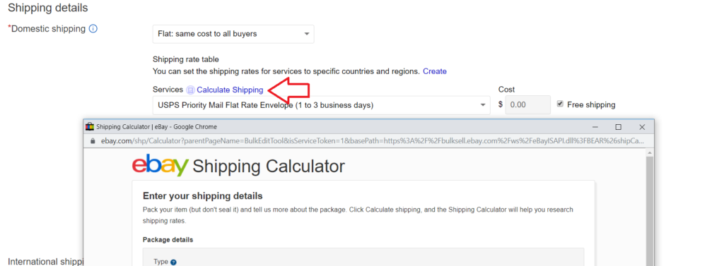 image of ebay shipping calculator