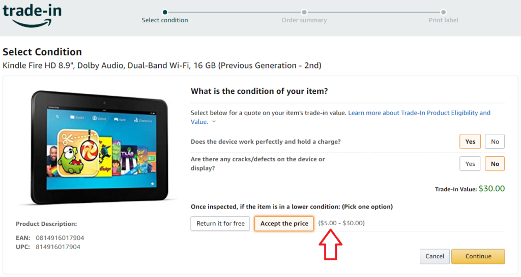 image offind how much is your item worth in amazon trade in program