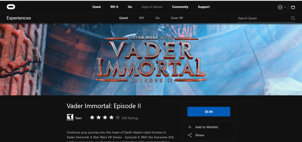 image of vader immortal episode ii oculus quest rift